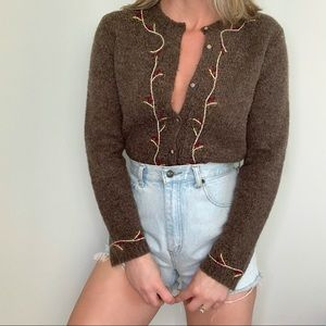 Vintage Floral embroidered cardigan sweater s m
